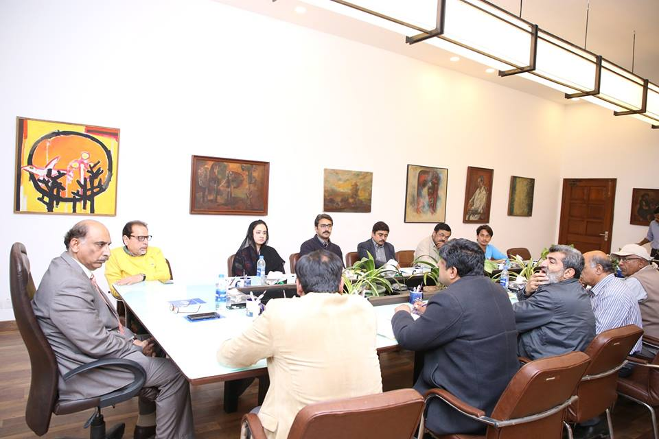 Meeting chaired by Mr. Abdul Kabir Kazi, Project Director KNIP regarding Project Works in Arts Council, Karachi