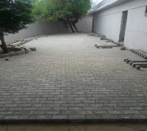 Cafeteria paver laying in progress at Arts Council