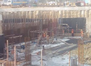 Preparation of Scaffolding and Reinforcement for columns and water tank wall  at section 04 underground parking plaza is underway.
