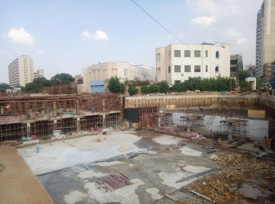 Reinforcement preparation for top level columns and retaining wall of section 03 and 07 underground parking plaza is underway