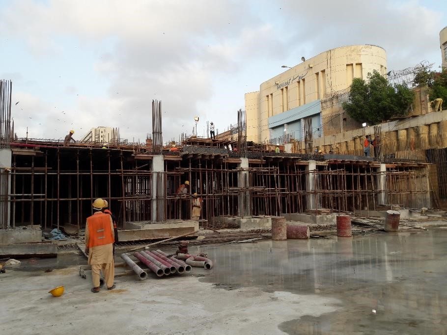 Scaffolding preparation for 1st level Slab of section 03 and 07 underground parking plaza