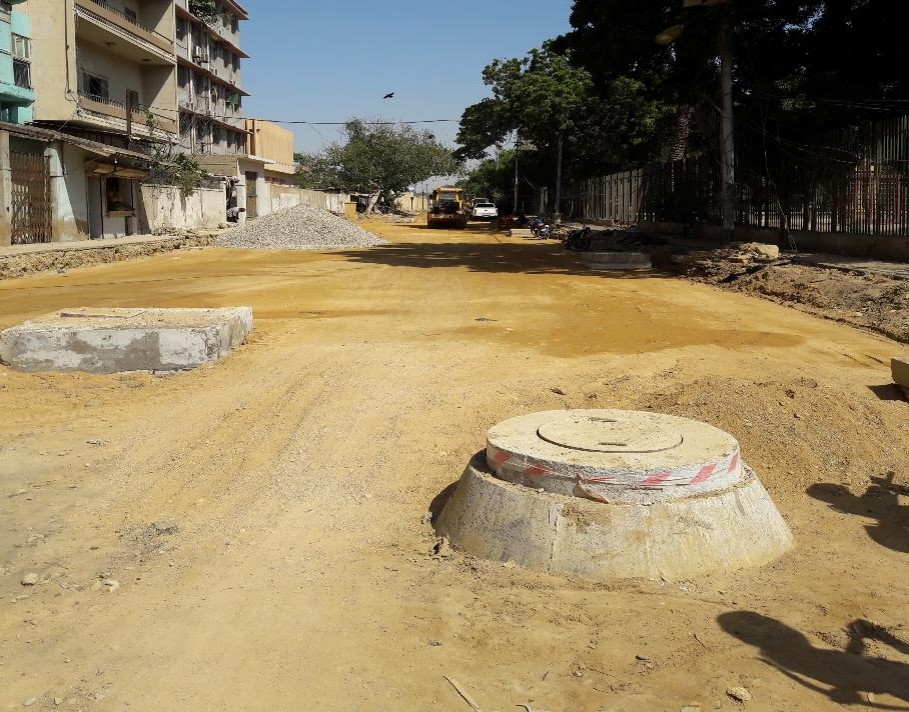 Subbase preparation is underway at Deen M Wafai Road