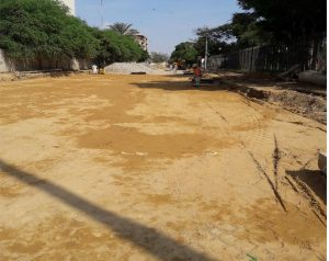 Subbase preparation is underway at Deen M Wafai Road ( 100-meter stretch)