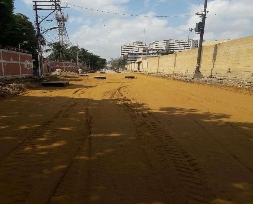 Subbase preparation is underway at Deen Mohammad Wafai Road ( 100-meter stretch) Infront of arts council gate