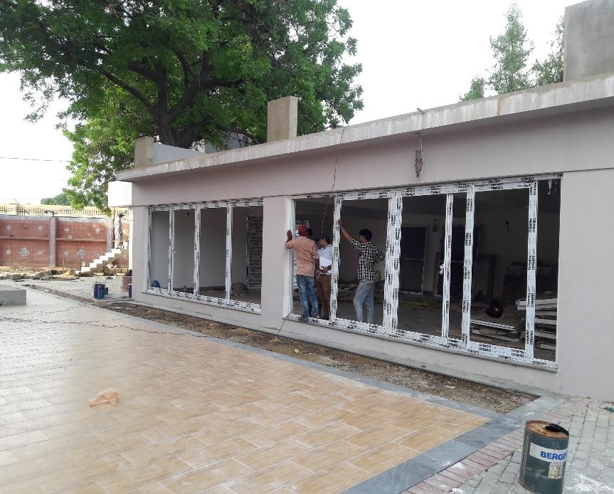 UPVC Windows and floor tiles are under installation at cafeteria Arts Council