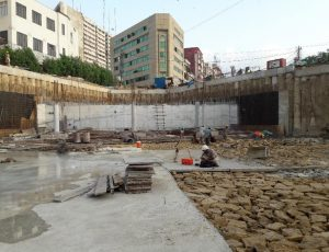 Read more about the article Underground water tank walls and few columns of foundation section 04 (partial) underground parking plaza have been poured with concrete