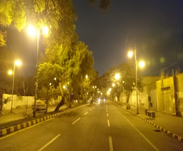 View of MR Kiyani Road after streetlights installation