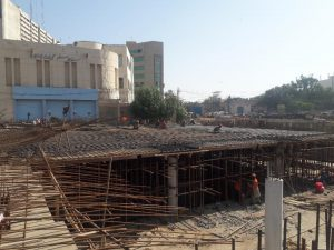 Reinforcement of top slab section 03 Underground Parking Plaza is under installation