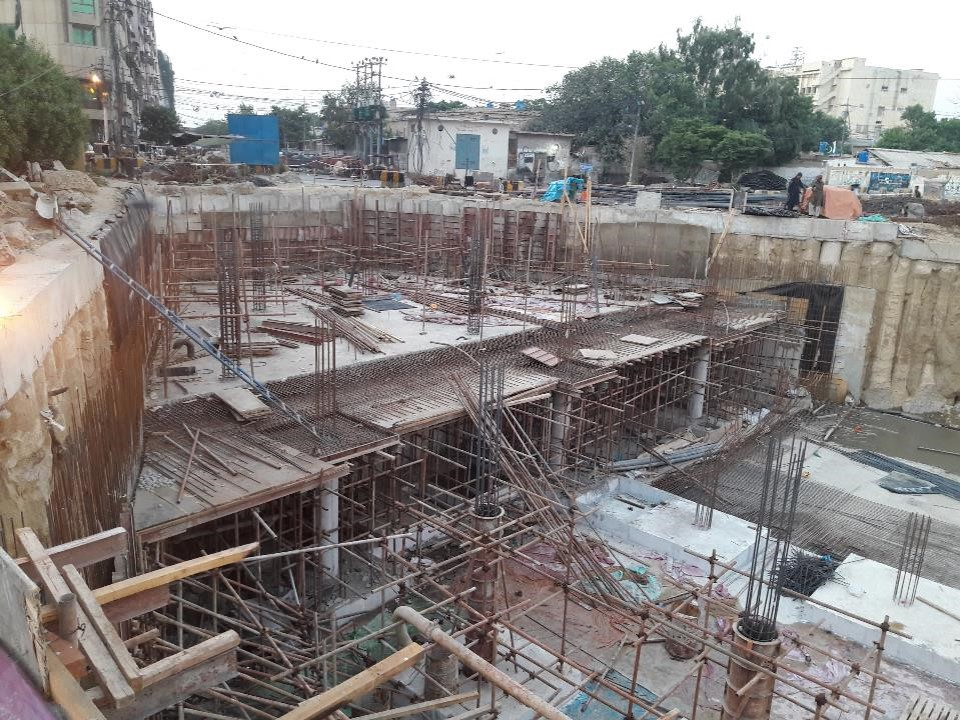PCC Wall and Reinforcement of columns at top level over water tank section 04  Under ground Parking Plaza (Partial) are under preparation