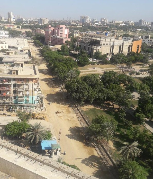 Top View of Deen Mohammad Wafai Road from Sindh Secretariat to Arts Council Junction