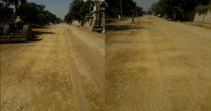 Final layer of base coarse at Deen Mohammad wafai Road from Sindh Secretariat to Arts Council Chowrangi