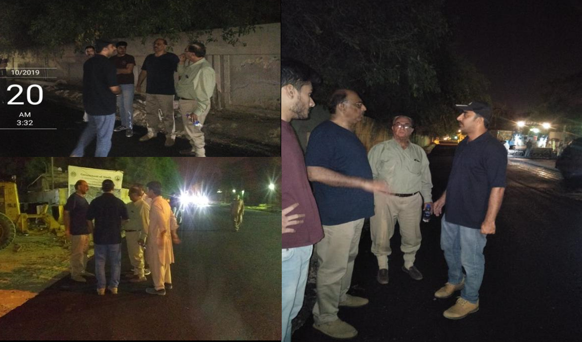 Project Director PIU KNIP visit during activity of Asphaltic base coarse layer at Deen Mohammad Wafai Road from Sindh Secretariat to Arts Council Chowrangi