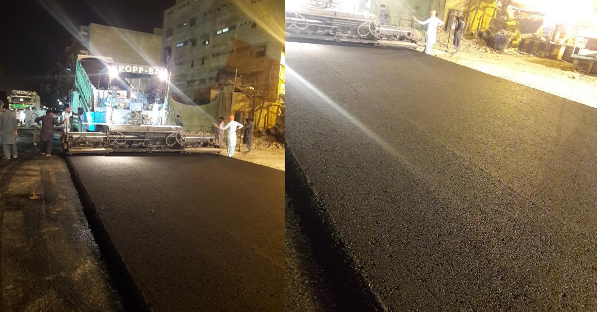 Asphaltic Wearing coarse layer at Deen Mohammad wafai Road from Sindh Secretariat to Arts Council Chowrangi