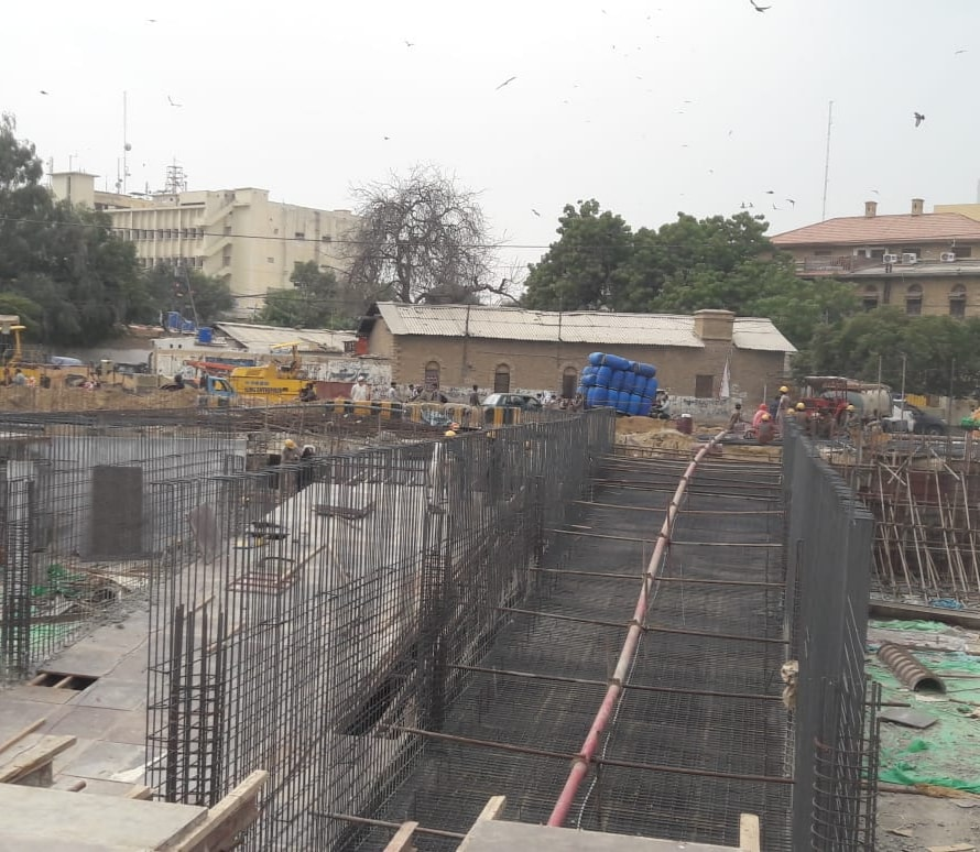 Ramp ( single side) concrete is starting at Underground Parking Plaza in Saddar Area under KNIP Component 1 of enhancing public spaces in selected neighborhoods of Karachi.