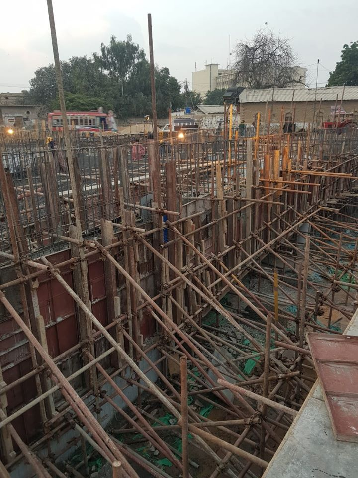 Retaining Wall Concrete is in process at the Underground Parking Plaza in Saddar Area under KNIP Component 1 of enhancing public places in selected neighborhoods of Karachi.