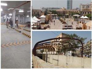 Work under progress at the Underground Parking Plaza and Top level Piazza in Saddar Area.