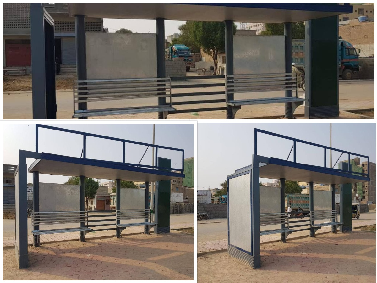 Newly constructed bus stops